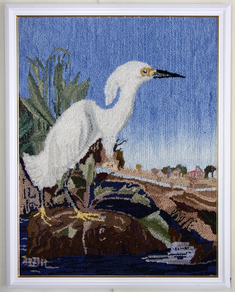Denise Vandenbemden.  Héron blanc. Adapté d'une aquarelle d'Audubon.
