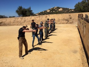 Combat pistol students shooting