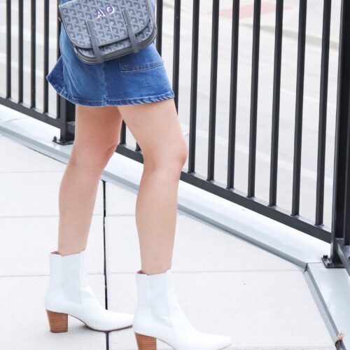 close up of white booties