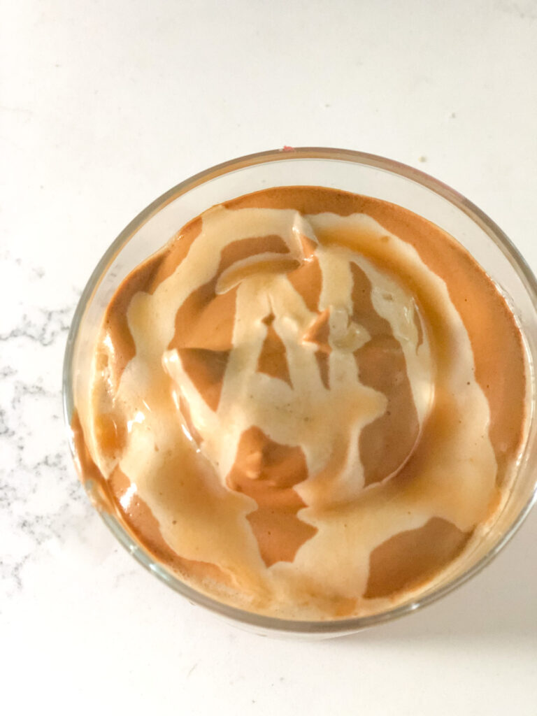 whipped coffee with drizzle