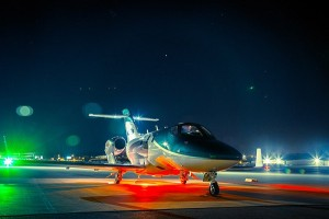 The HondaJet returns from a night-time function and reliability test at Cobb County International Airport in Atlanta.