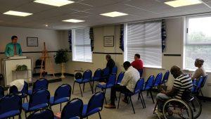 "Me preaching at ""Seaport Baptist Church"" (Iglesia Bautista del Puerto) in nearby Renteria"