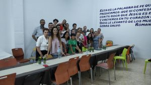 Us with believers at the Baptist Church of Gandia, where Raquel's father is pastor