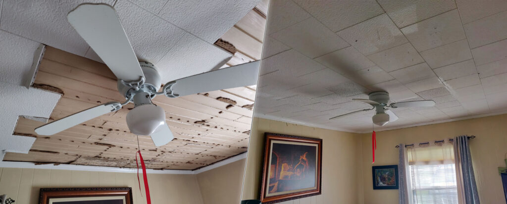 Ceiling damage from the hurricane
