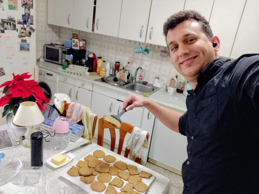 Baking cookies to give out to church neighbors