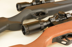 Airguns with scopes,composite and wood .