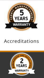 Fabric manufacturers 5 year warranty