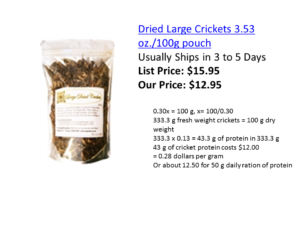 Price of crickets available online. The cost of a 50 g ration of protein (recommended by FAO/WHO for human adults) is about $12.50 US dollars.