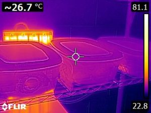 Thermal image of 3 hornworm containers