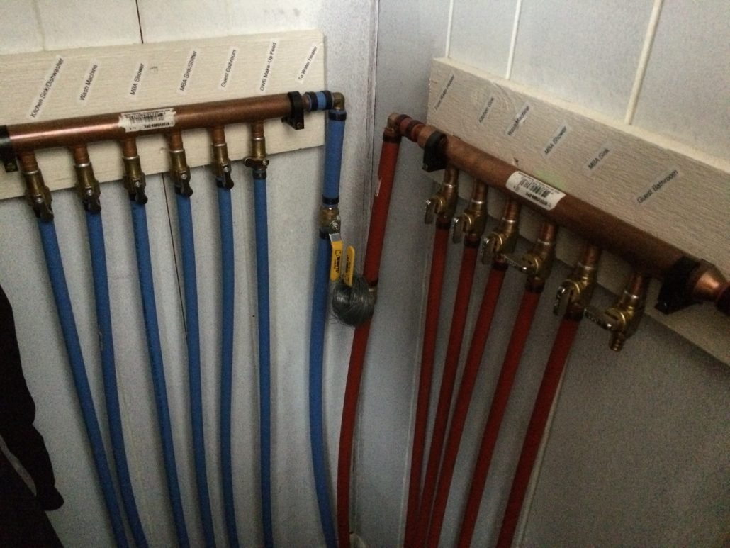 Main House hot and cold water supply manifolds