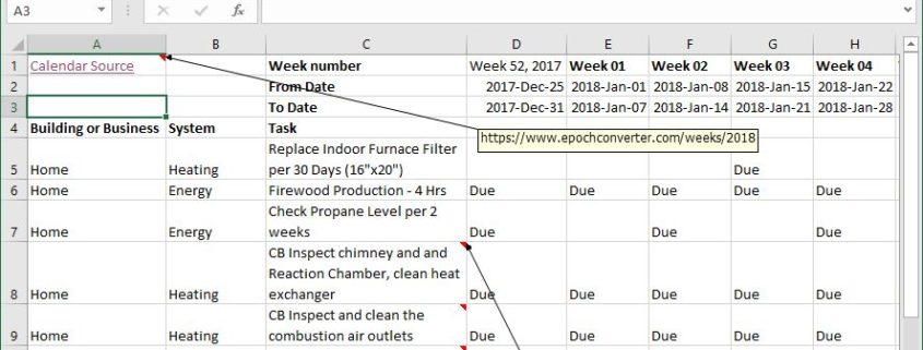 Maintenance Planning spreadsheet for the Homestead at Primal Woods