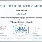 Primal Health Coach Certificate of Achievement