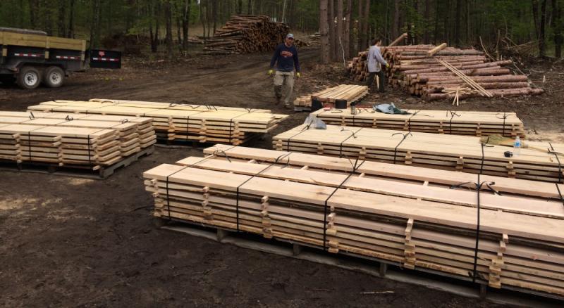 stacking green lumber