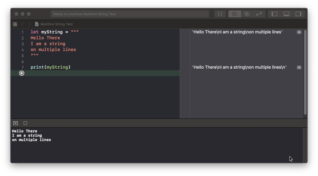 Swift Playground with Multiline String squashed