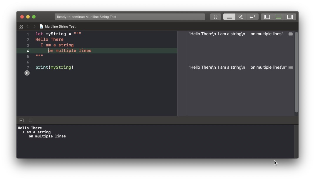 Swift Playground with multiline string indented squashed
