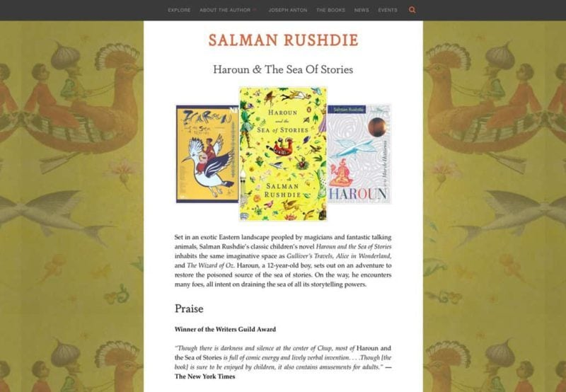 Salman Rushdie author website design by Adrian Kinloch