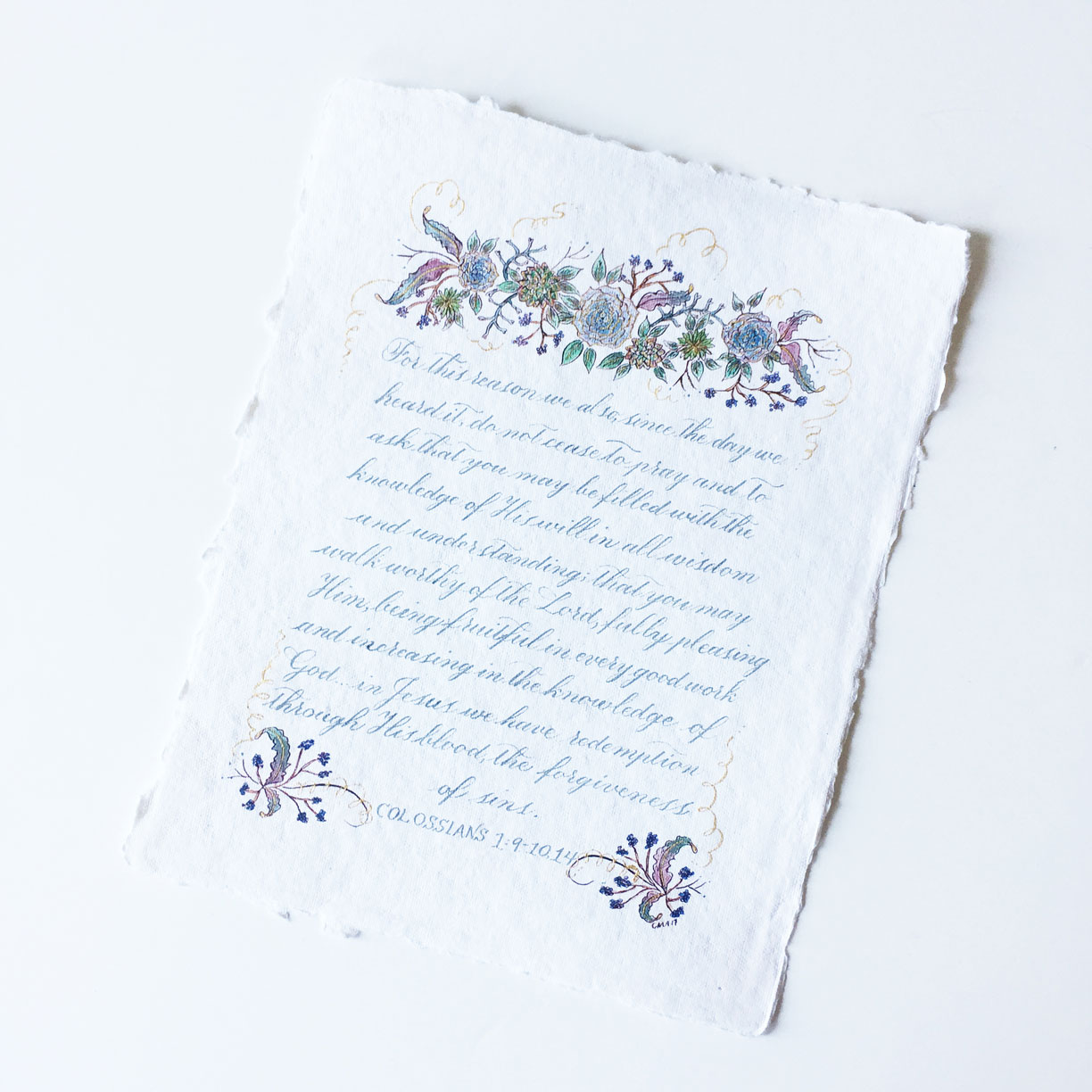 Bible verse calligraphy on cotton paper