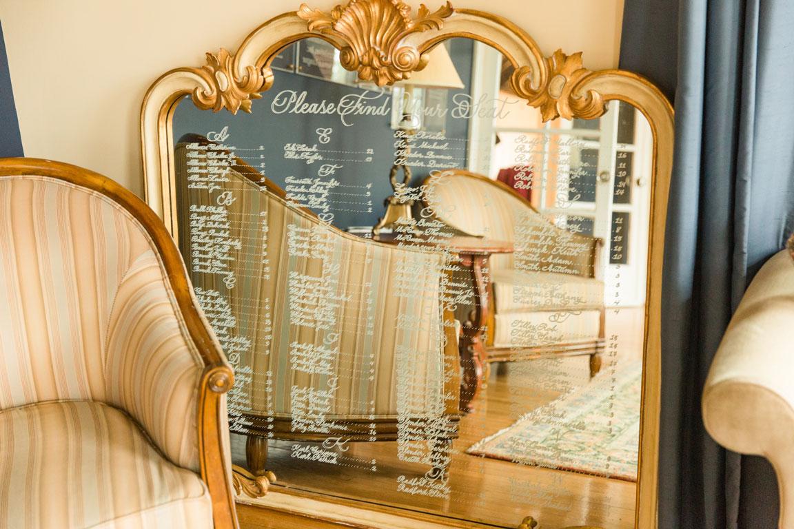 Luxurious mirror wedding seating chart