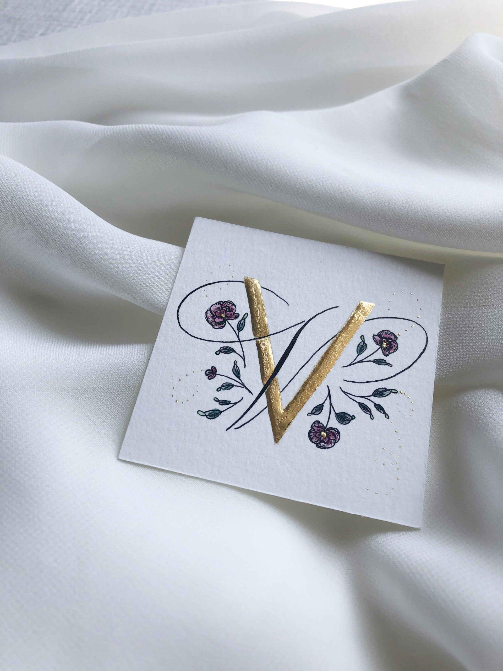 Allocco Design Norfolk, VA Calligraphy | Flourished Gold Calligraphy V