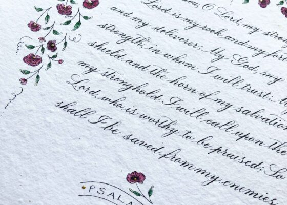Allocco Design Norfolk, VA Calligraphy | Flower and gold Bible Verse
