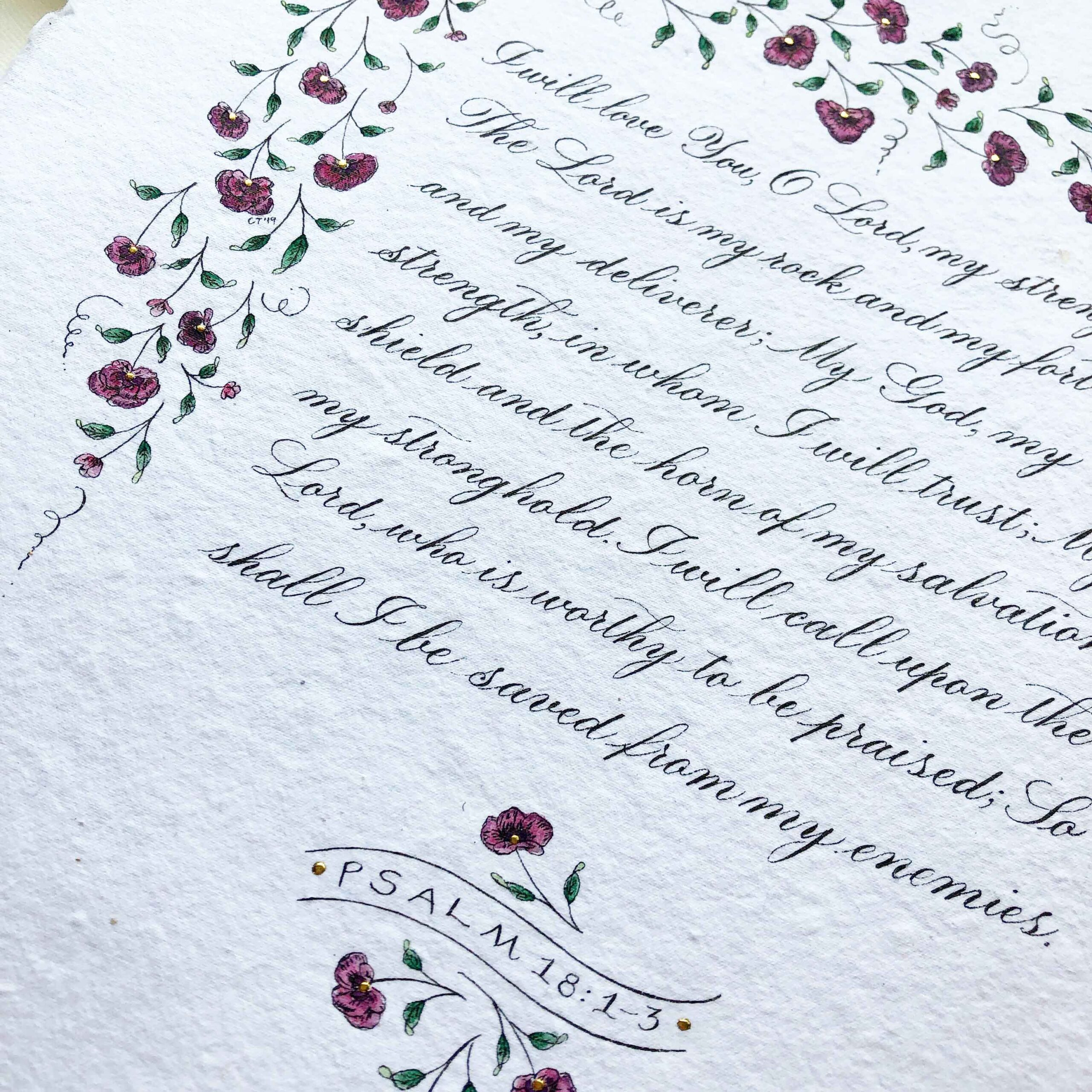 Allocco Design Norfolk, VA Calligraphy   Flower and gold Bible Verse