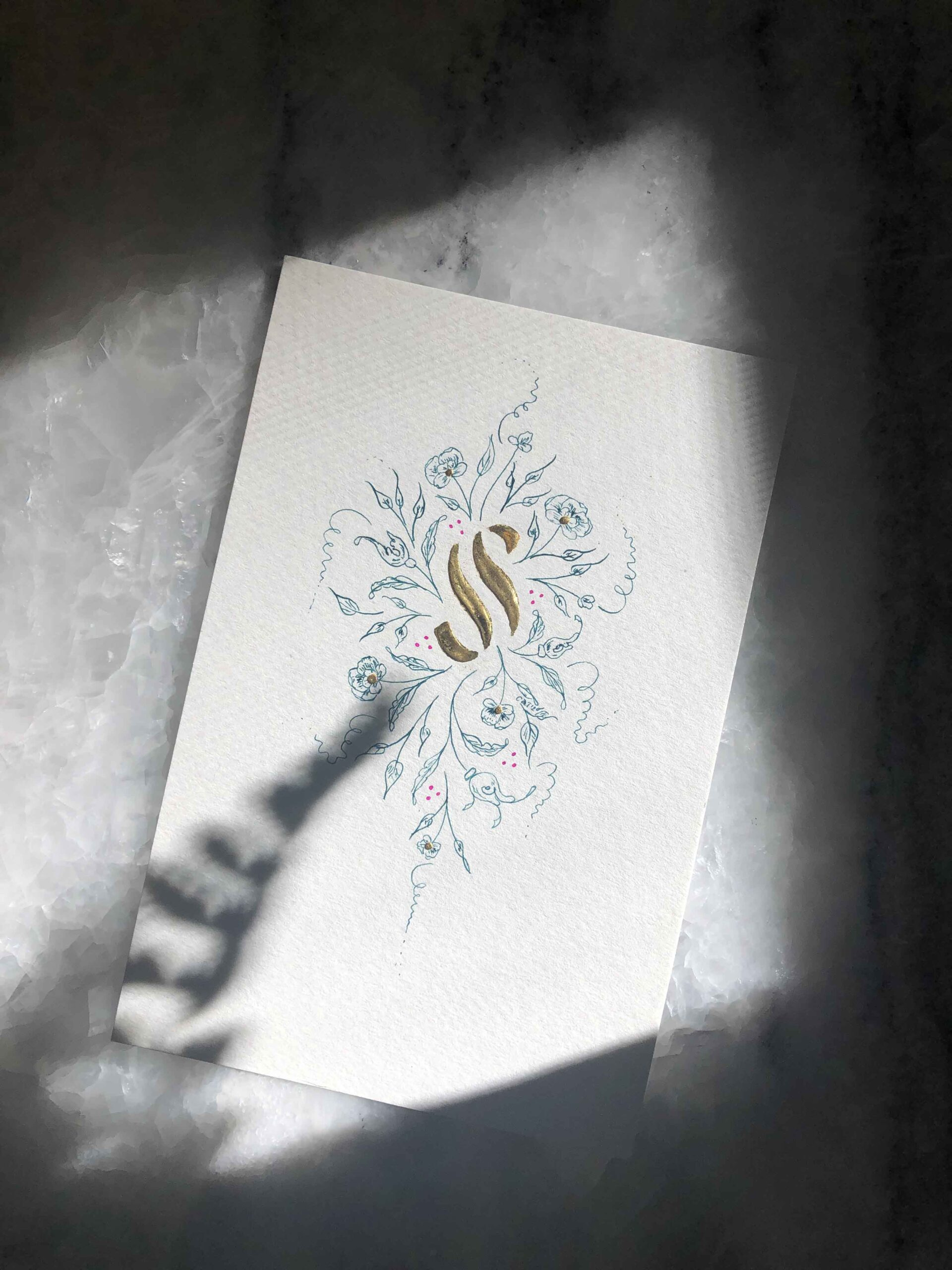 Allocco Design Norfolk, VA Calligraphy   Flourished Gold Calligraphy S