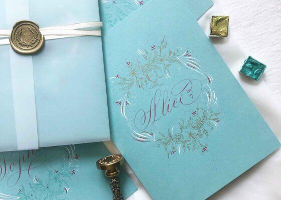Allocco Design Norfolk, VA Calligraphy   Flourished Name Card