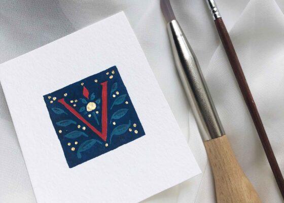 Allocco Design Norfolk, VA Calligraphy   Flourished Gold Calligraphy V