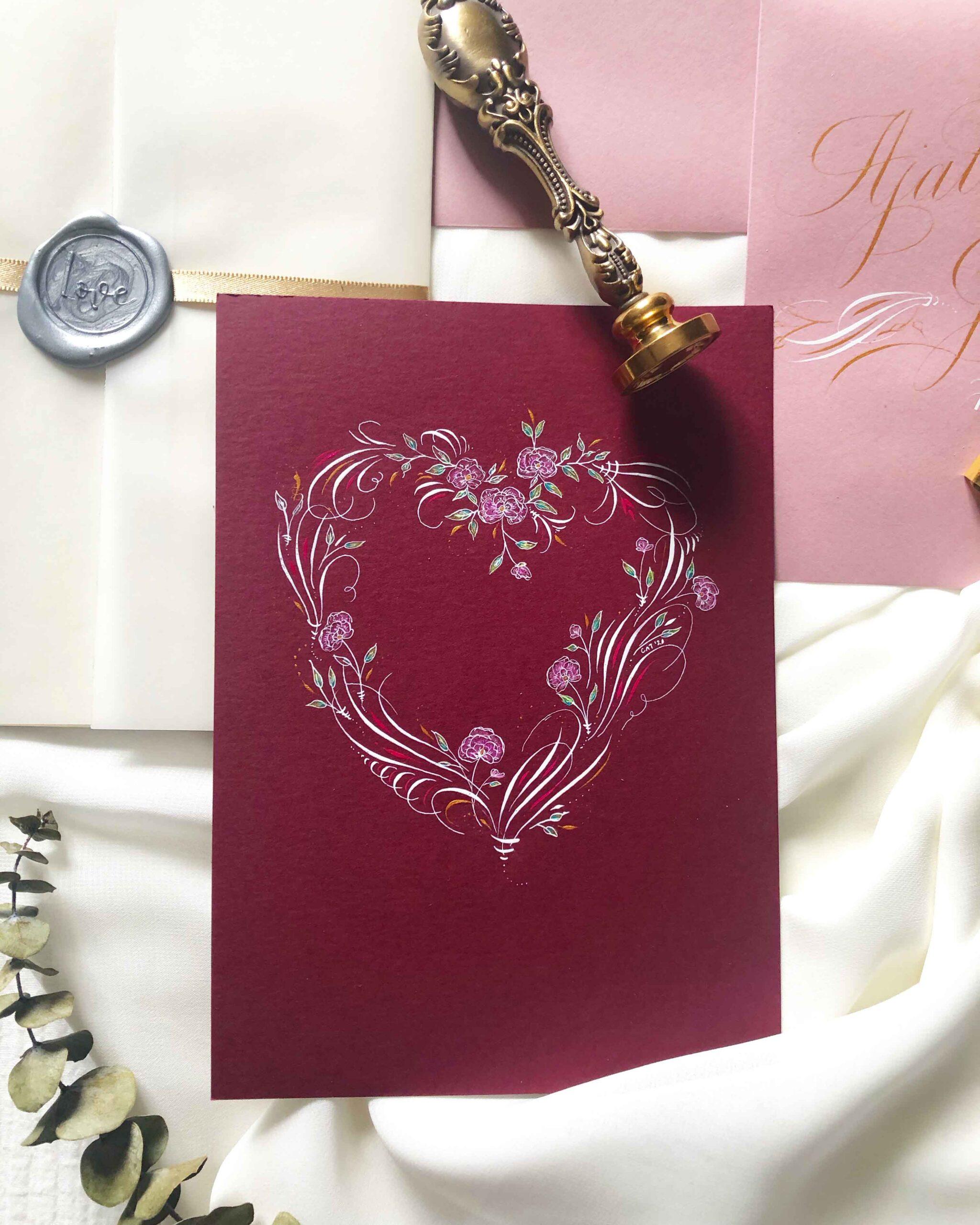 Allocco Design Norfolk, VA Calligraphy   Flourished Heart