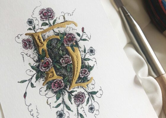 Illuminated H with 23K gold and floral illustrations.