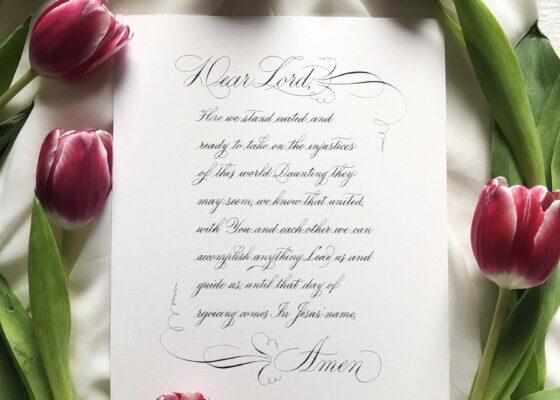 Calligraphy prayer and flourishing