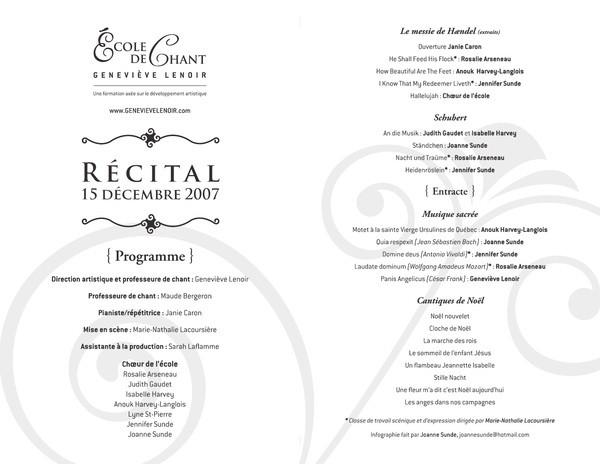Program for the recital