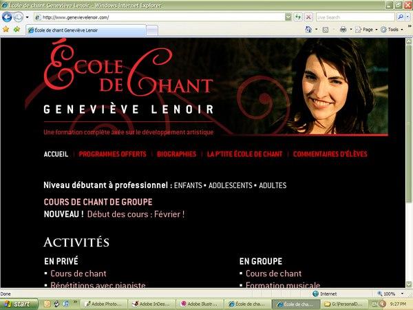 Page d'accueil du site fond noir