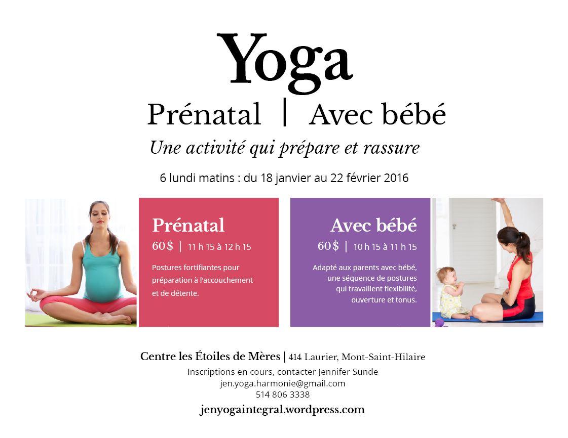Annonce Session Yoga Prenatal et avec bebe St-Hilaire