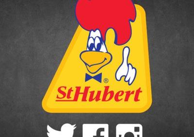 Logo St-Hubert sur fond de tableau ardoise avec icones Twitter Facebook et Instagram