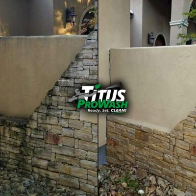 Black mold removal cleaning from limestone Before & After!
