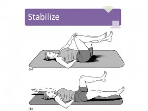 Start and finish positions for a customized exercise that develops spine stability in the context of hip and shoulder mobility.
