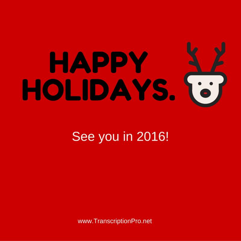 Happy holidays.