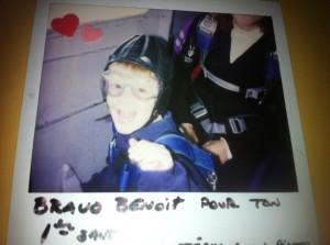 Benoit's first tandem jump at age 4