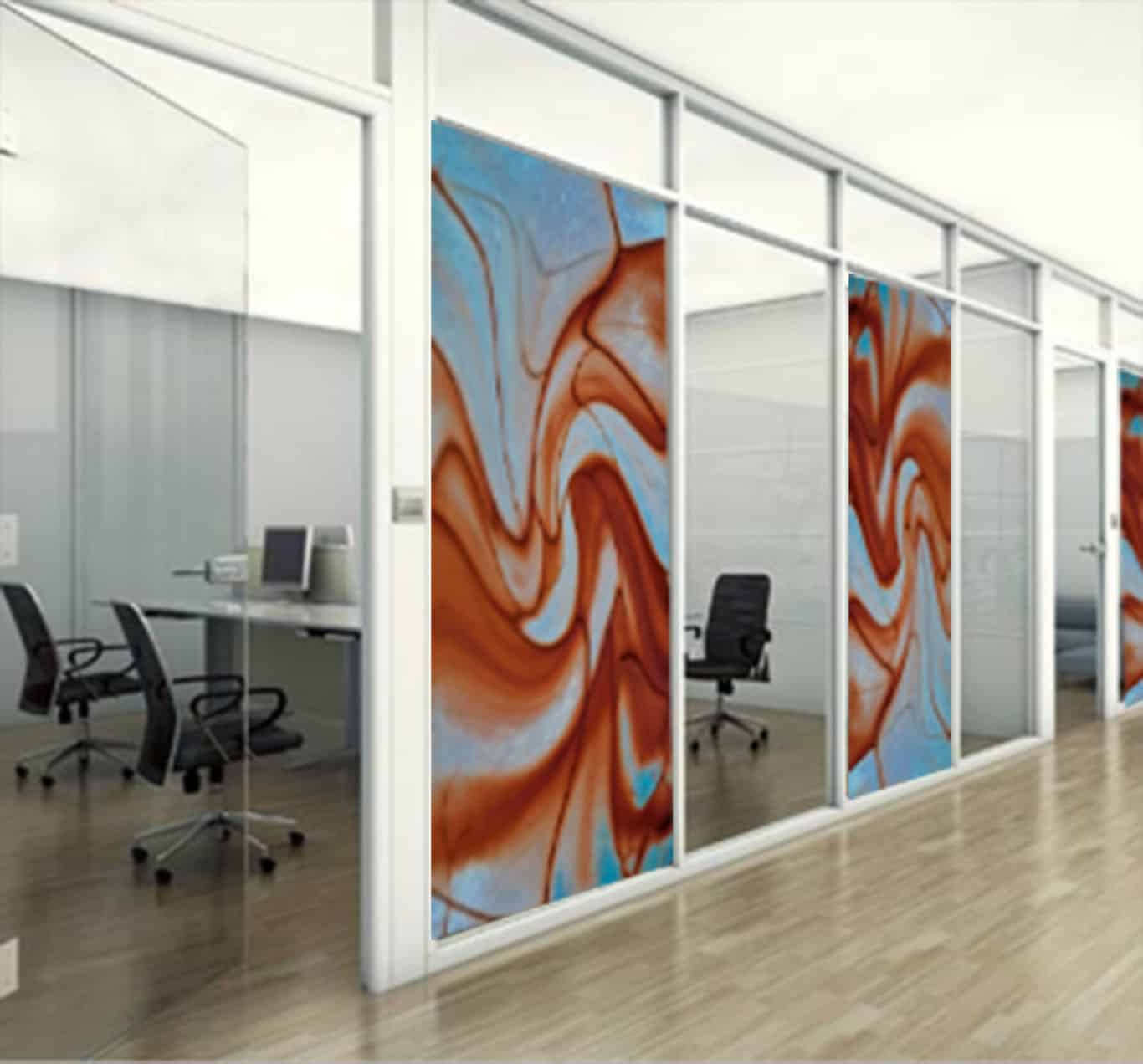 Digital Glass Wall with an abstract image