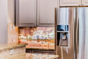 Photography Solutions Digital Glass Backsplash in a kitchen