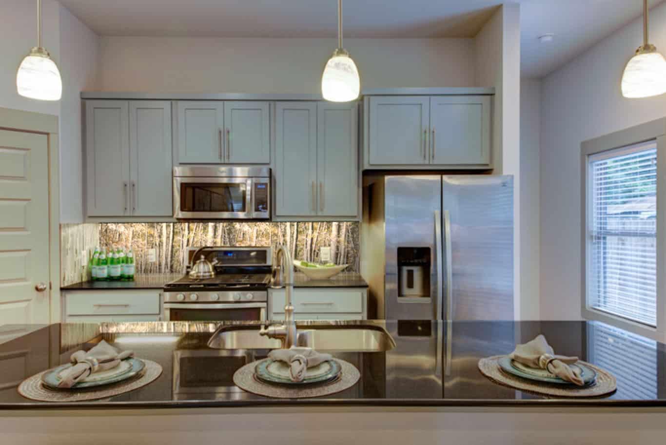 Digital Glass Kitchen Backsplash with a glass photography panel
