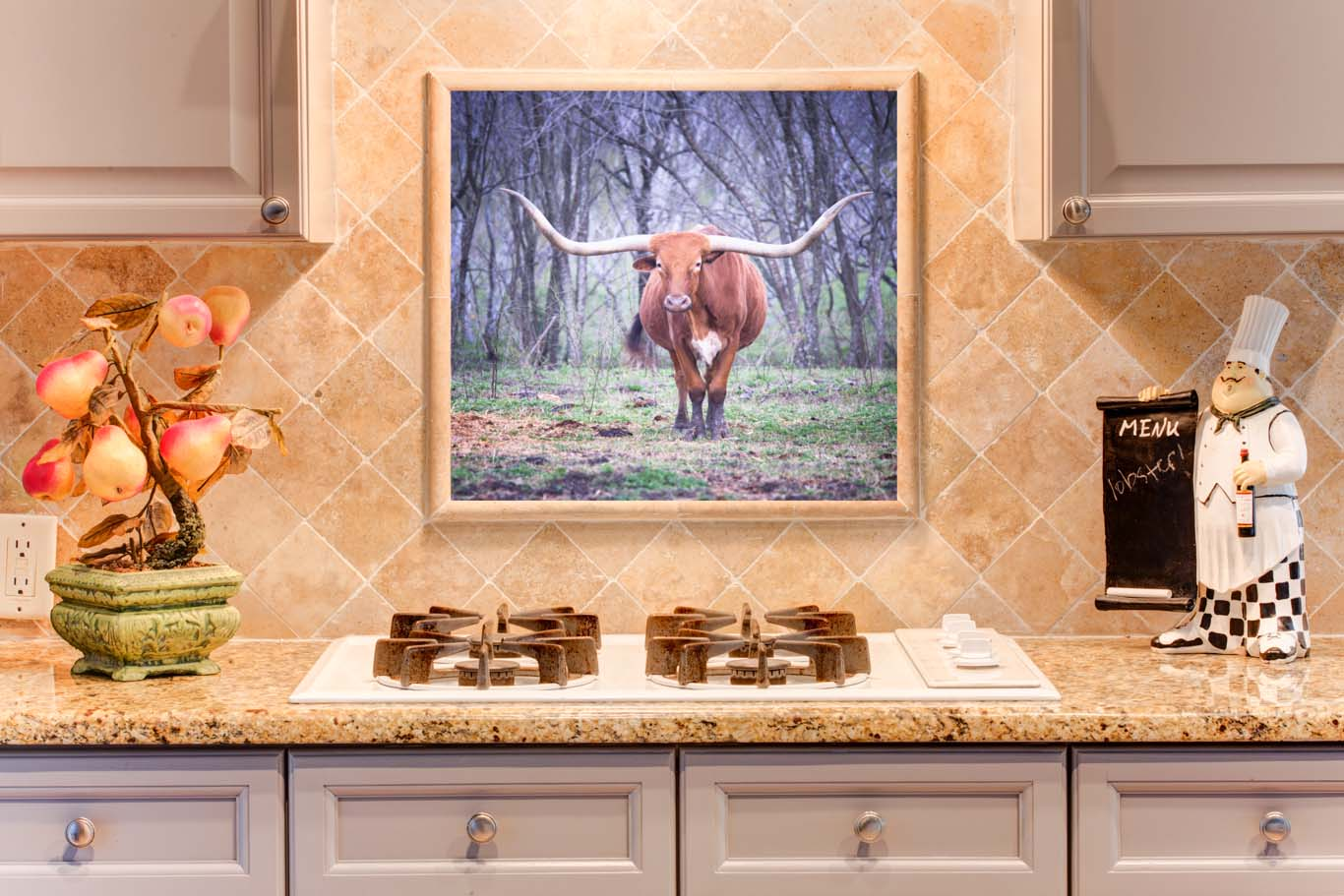 Digital Printed Glass Picture of a longhorn over a stove as a backsplash highlight