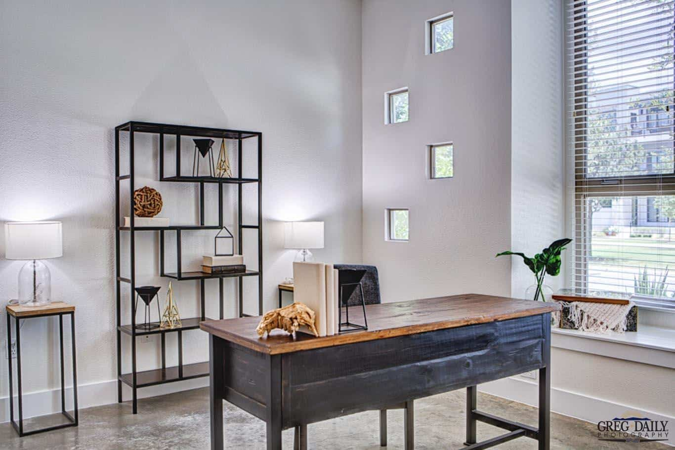 Photo of a desk in a nice house