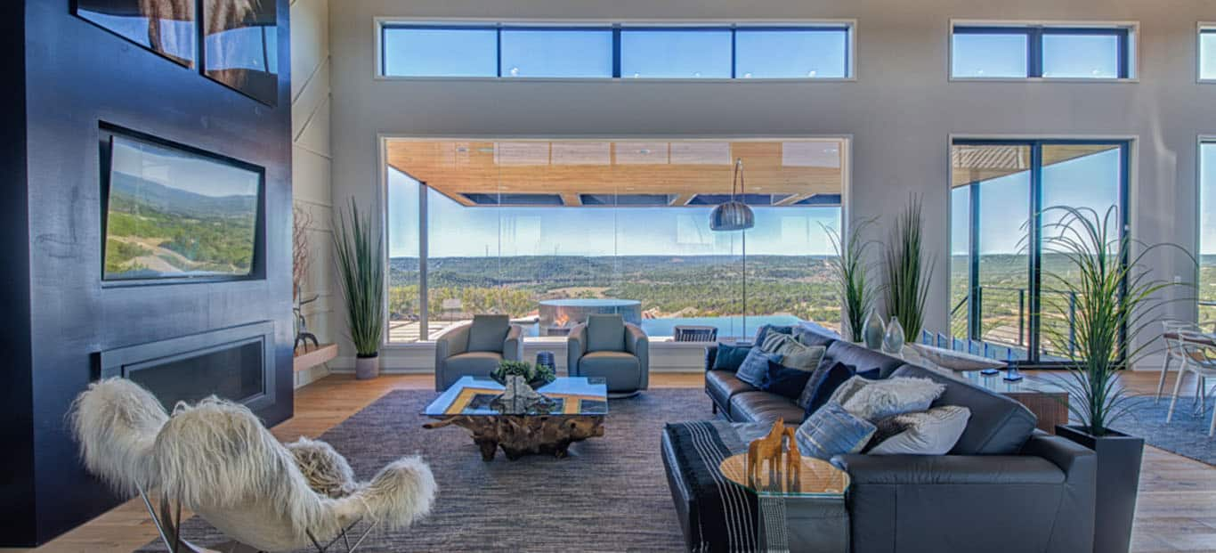 Austin Texas Real Estate Photographer Picture of luxury home living room with great view