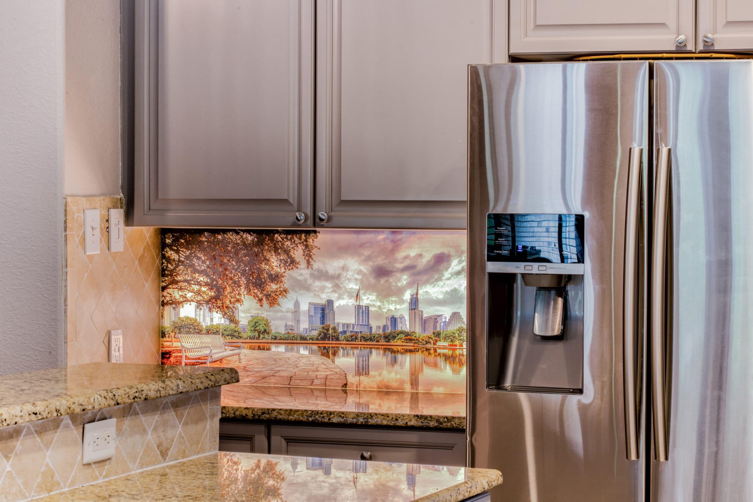 Professional Photography Solutions Digital Glass Backsplash of Austin Texas Backlit