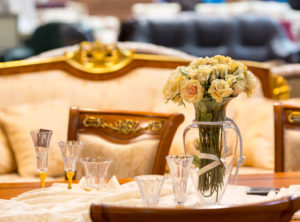 Romantic Dinner, Close up of served table with flowers