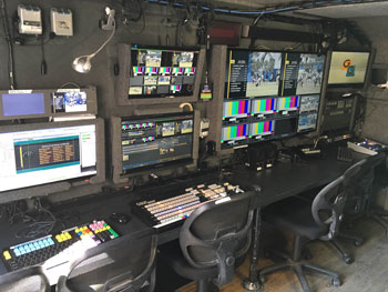Keyboards and monitors in MU14 Tricaster truck photo