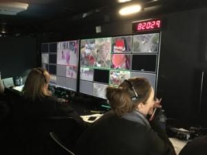 A ProAngle Media multichannel monitor in Production Trailer MU17