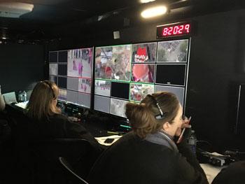 A Pro Angle Media multichannel monitor in Production Trailer MU 17